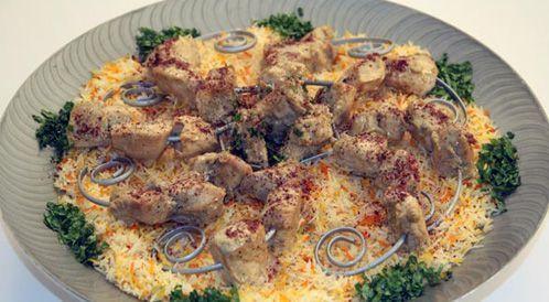 وصفة لتحضير شيش طاووق مع الرز  بطريقة صحية
