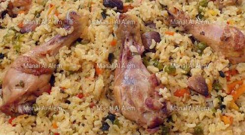 وصفة لتحضير أرز بالدجاج والخضروات بطريقة صحية