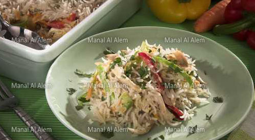وصفة لتحضير صينية الأرز بالدجاج والكريمة بطريقة صحية