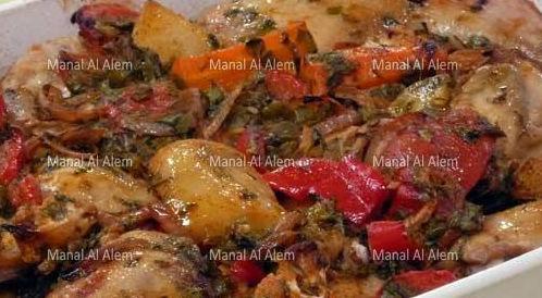 وصفة لتحضير الدجاج بالثوم والخضراوات بطريقة صحية