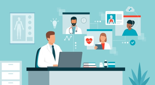 التواصل بين الأطباء عبر التطبيب عن بعد