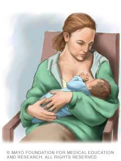 الإرضاع: حمل الطفل بواسطة اليد الموجودة في نفس جهة الثدي المرضع