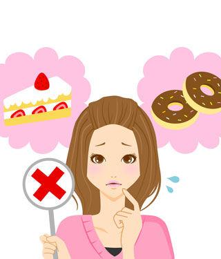 تجنب الحلويات والاطعمة الدسمة